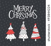 merry christmas card with cute... | Shutterstock .eps vector #493844224
