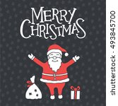 christmas greeting card with... | Shutterstock .eps vector #493845700