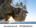 Landscape view of an arch at the Apostle Islands National Lakeshore on Lake Superior in northern Wisconsin