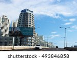 Small photo of PANAMA - OCTOBER 2: Ricardo Alfaro's street with the Edison Park, the National bank, apartments and food brands in Panama City, Marbella at October 02, 2016.