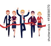 businessman and woman crossing... | Shutterstock .eps vector #493858570