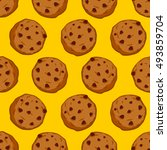 cookies seamless pattern.... | Shutterstock .eps vector #493859704