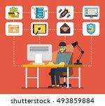 hacker sitting at the desktop... | Shutterstock .eps vector #493859884