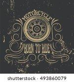 motorcycle emblem.vintage... | Shutterstock .eps vector #493860079