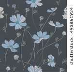 cosmos flowers in blue and gray ... | Shutterstock .eps vector #493861924