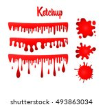 set of ketchup drops. vector... | Shutterstock .eps vector #493863034