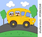 school bus. kids riding on... | Shutterstock .eps vector #493863268
