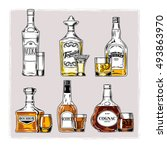 vector set of bottles with... | Shutterstock .eps vector #493863970