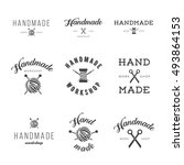 handmade workshop logo vintage... | Shutterstock .eps vector #493864153