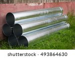 bought new gutters lying in the ... | Shutterstock . vector #493864630