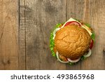 top view gourmet  hamburger on... | Shutterstock . vector #493865968