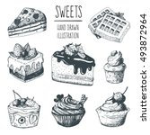 hand drawn cakes collection... | Shutterstock .eps vector #493872964