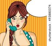 pop art  woman chatting on...   Shutterstock .eps vector #493880374