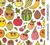 seamless pattern of hand drawn... | Shutterstock .eps vector #493880410