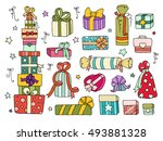set of cute doodle gifts boxes...   Shutterstock . vector #493881328