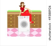 house keeper sitting on a... | Shutterstock . vector #49388926