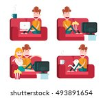 boy on a sofa. staying at home. ... | Shutterstock .eps vector #493891654