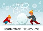 winter characters. girl and boy.... | Shutterstock .eps vector #493892290