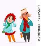 winter characters. girl and boy.... | Shutterstock .eps vector #493892344