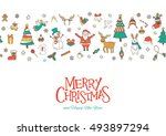 merry christmas greeting card ... | Shutterstock .eps vector #493897294