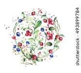 watercolor forest berries ... | Shutterstock . vector #493899784