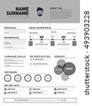 resume minimalist cv  resume...   Shutterstock .eps vector #493903228