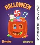 halloween pumpkin and candies ... | Shutterstock .eps vector #493904434