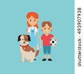 kids boy and girl with dog...   Shutterstock .eps vector #493907938