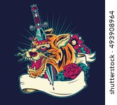 old school tiger head tattoo... | Shutterstock .eps vector #493908964
