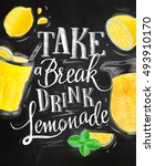 poster with lemonade elements... | Shutterstock .eps vector #493910170