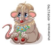 cartoon mouse with a small... | Shutterstock .eps vector #493911790