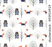 fox  bear  autumn trees and... | Shutterstock .eps vector #493914919