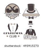 vintage hipster label gentlemen ... | Shutterstock .eps vector #493915273