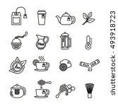 tea icon set. thin line vector... | Shutterstock .eps vector #493918723