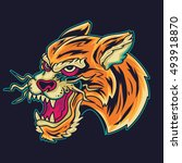 old school tiger head tattoo... | Shutterstock .eps vector #493918870