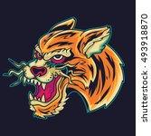 old school tiger head tattoo... | Shutterstock .eps vector #493918870