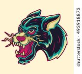 old school panther head tattoo... | Shutterstock .eps vector #493918873