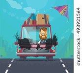 trendy flat design vehicle... | Shutterstock .eps vector #493921564