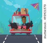 trendy flat design vehicle... | Shutterstock .eps vector #493921570