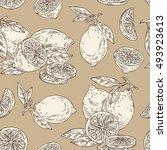 seamless with lemon . hand... | Shutterstock .eps vector #493923613