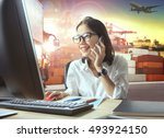 professional working woman and... | Shutterstock . vector #493924150