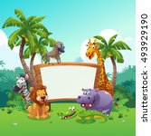 safari animals board  vector... | Shutterstock .eps vector #493929190