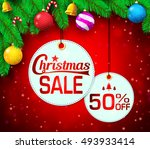 christmas sale round tag in... | Shutterstock .eps vector #493933414