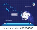 hurricane approaches bahamas... | Shutterstock .eps vector #493934500