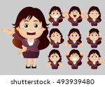 cute set   set of businesspeople | Shutterstock .eps vector #493939480