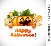halloween pumpkin smiling and... | Shutterstock .eps vector #493941550