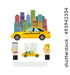 taxi service public transport... | Shutterstock .eps vector #493942354