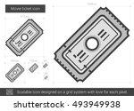 movie ticket vector line icon... | Shutterstock .eps vector #493949938
