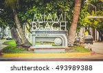miami beach welcome sign ... | Shutterstock . vector #493989388