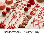 christmas decoration on wooden...   Shutterstock . vector #493992409